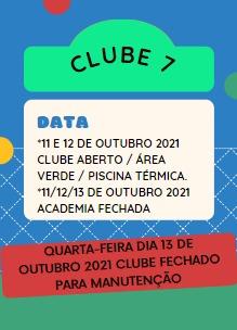 Horários do clube no feriadão